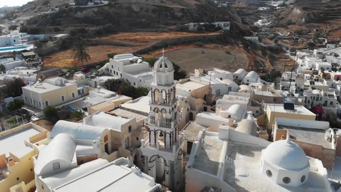 Santorini Church Aerial Tower Cross  Aerial Top Above Perspective Cityscape Travel Destination