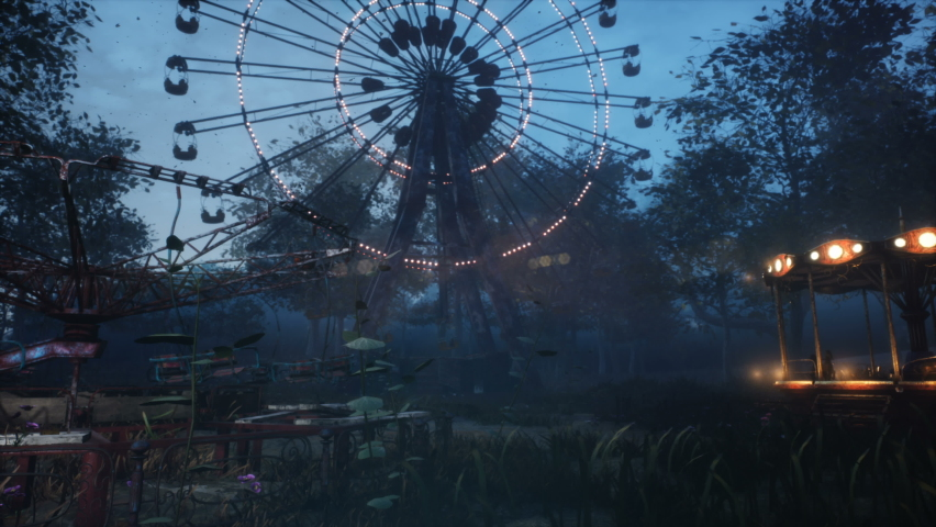 Abandoned Apocalyptic Ferris wheel and carousel in an amusement Park in a city deserted after the Apocalypse. The concept of a post-apocalyptic world after a nuclear war. | Shutterstock HD Video #1059084188