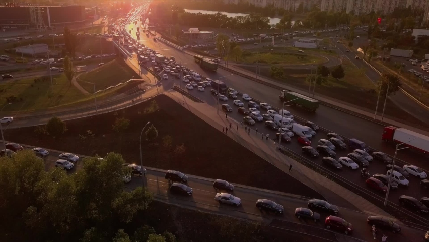 Traffic congestion during rush hour, traffic jams, traffic congestion during sunset   Shutterstock HD Video #1059090026