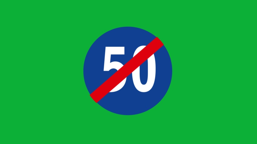 End of minimum speed limit sign 50 road sign - End of minimum speed limit sign Fifty animated cartoon vector traffic sign on Green screen background