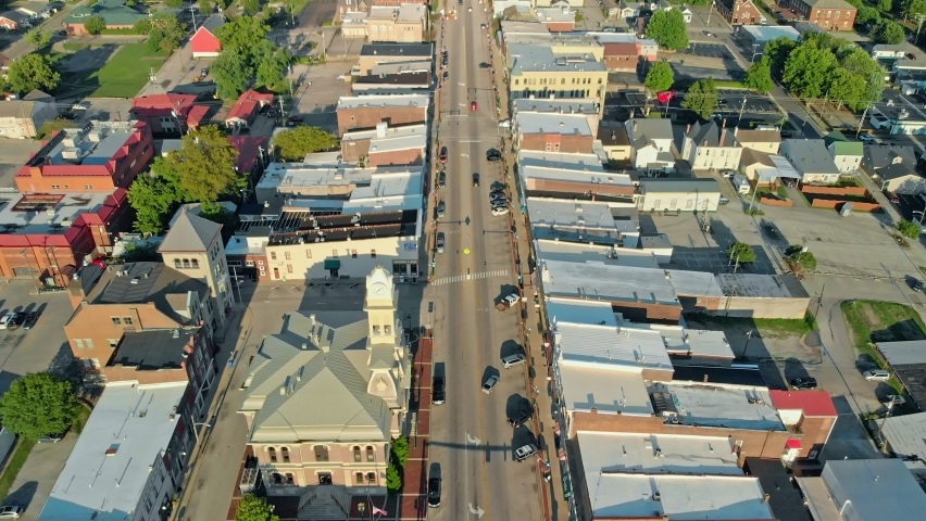 Aerial view of Georgetown, Kentucky - a county seat for Scott County