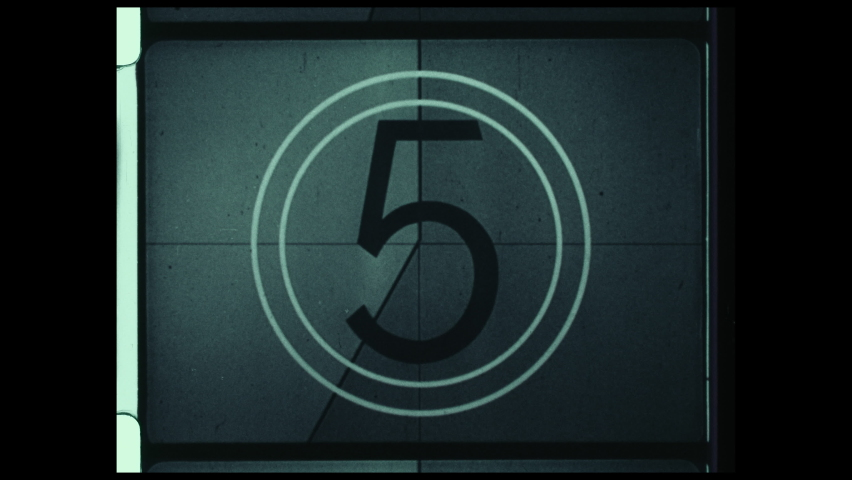 Countdown Leader, Picture Start. 4K Overscan of 16mm Film Showing Frame Lines. Black & White Monochromatic Countdown from 8 to 2. Vintage Countdown Clock | Shutterstock HD Video #1059107183