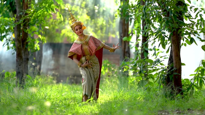 Thailand culture khon performance arts acting entertainment dance traditional costume.   | Shutterstock HD Video #1059111143