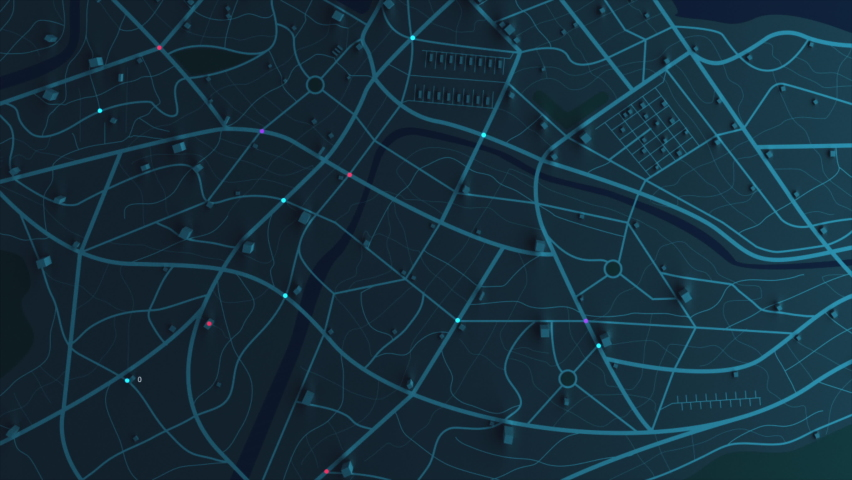 3D rendering GPS map navigator with direction path, different color of a route for transport concept, select focus shallow depth of field | Shutterstock HD Video #1059119291