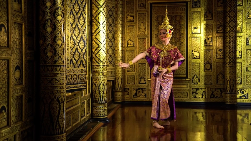 Thailand culture Khon performance arts acting entertainment dance traditional costume. Asia acting dancing pantomime show.Actress Sida in traditional pantomime is dancing. | Shutterstock HD Video #1059140459
