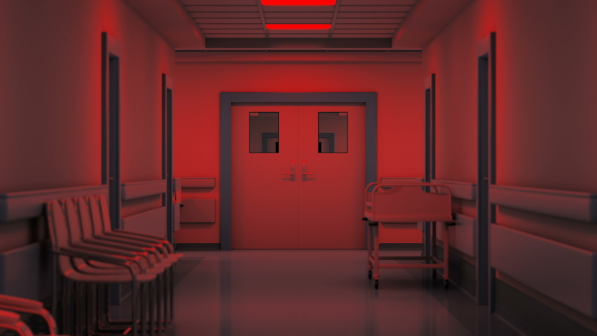 Hospital corridor, blinking light, spooky atmosphere, horror in an abandoned clinic. The vertigo effect deepens anxiety, hospital after the pandemic. | Shutterstock HD Video #1059141320