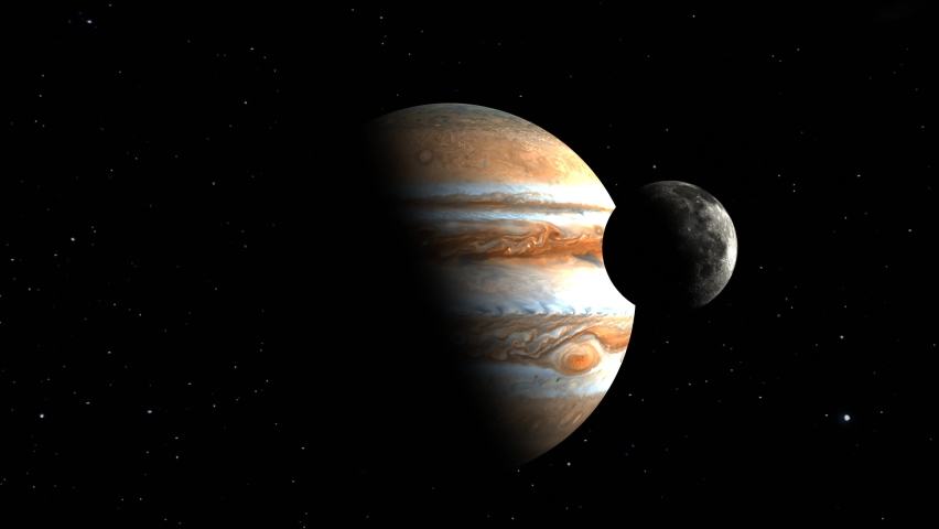 3D Render of moon orbiting Jupiter . Stars. Elements of this image furnished by NASA. scale to show size comparison of both planets