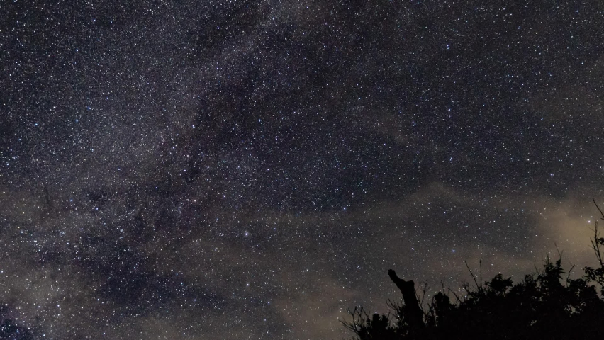 Milky Way and star time lapse withing clouds, airplanes on clear night until dusk with small tree in foreground | Shutterstock HD Video #1059148955