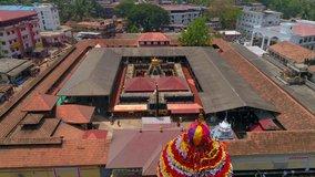Shri Mookambika Temple front drone video south india.