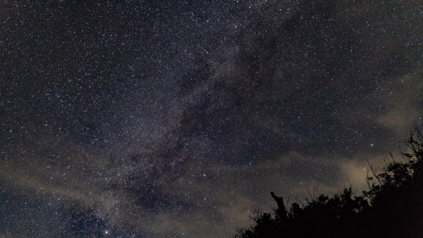 Milky Way and star time lapse withing clouds, airplanes on clear night until dusk - PUSH IN shot | Shutterstock HD Video #1059149255