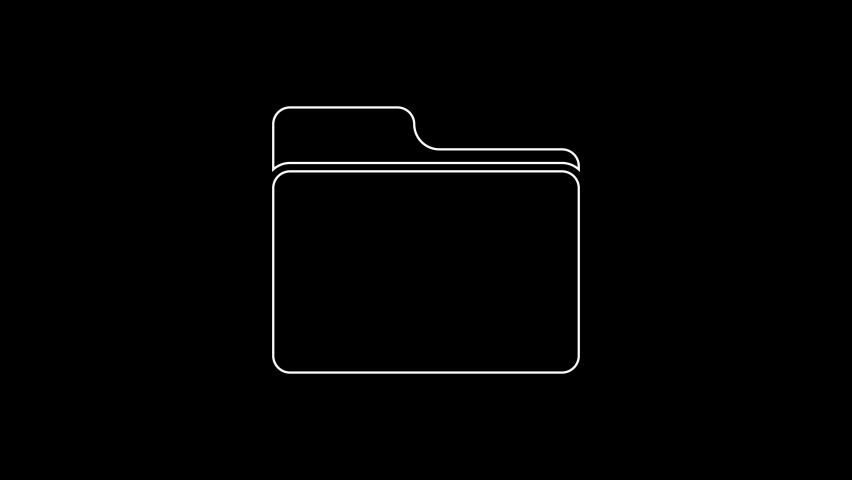 White line Document folder icon isolated on black background. Accounting binder symbol. Bookkeeping management. 4K Video motion graphic animation | Shutterstock HD Video #1059153449