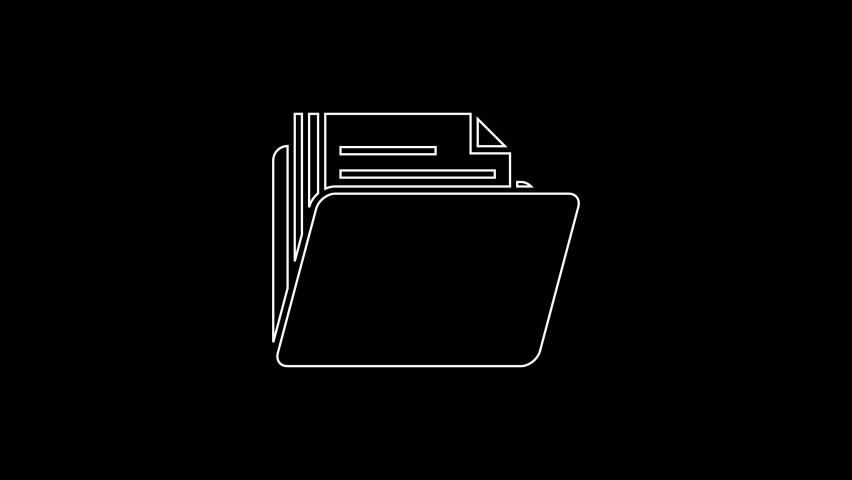 White line Document folder icon isolated on black background. Accounting binder symbol. Bookkeeping management. 4K Video motion graphic animation | Shutterstock HD Video #1059153455