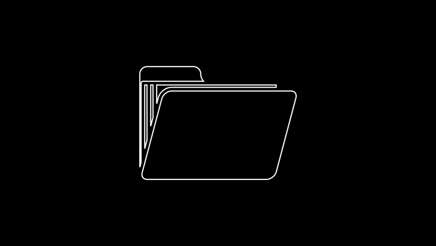 White line Document folder icon isolated on black background. Accounting binder symbol. Bookkeeping management. 4K Video motion graphic animation | Shutterstock HD Video #1059153458