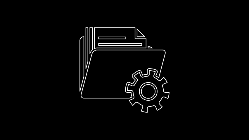 White line Folder settings with gears icon isolated on black background. Software update, transfer protocol, teamwork tool management. 4K Video motion graphic animation | Shutterstock HD Video #1059153521