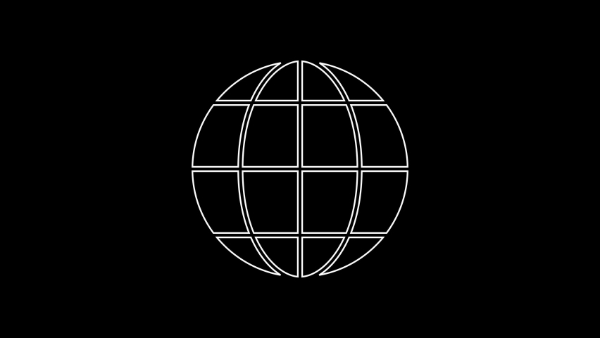 White line Earth globe icon isolated on black background. World or Earth sign. Global internet symbol. Geometric shapes. 4K Video motion graphic animation | Shutterstock HD Video #1059153584