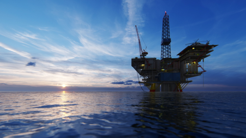 Helicopter flying from oil rig platform towards beautiful sunrise, 4K Royalty-Free Stock Footage #1059153842