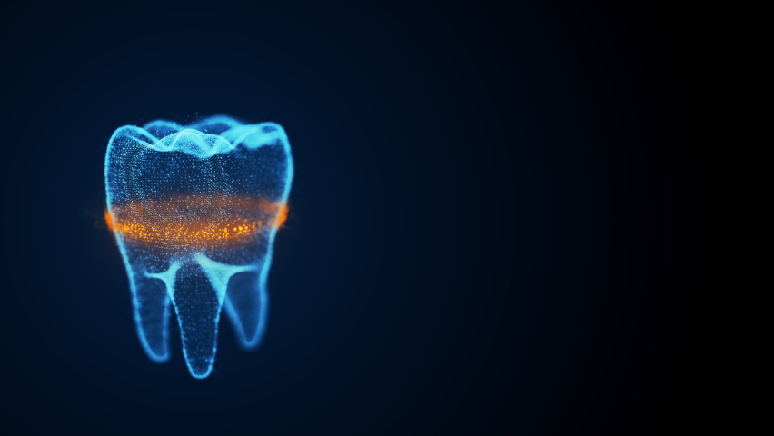 Isolated rotating tooth costructed with glowing points and orange scanning line analyze dental structurefrom top to bottom. Digital tooth anatomy model. Oral health care concept. Royalty-Free Stock Footage #1059156548