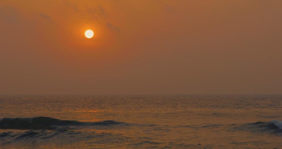 Sunrise at Sea with beautiful waves in Soft light. 4k Ultra HD 4096x2160 | Shutterstock HD Video #1059157778