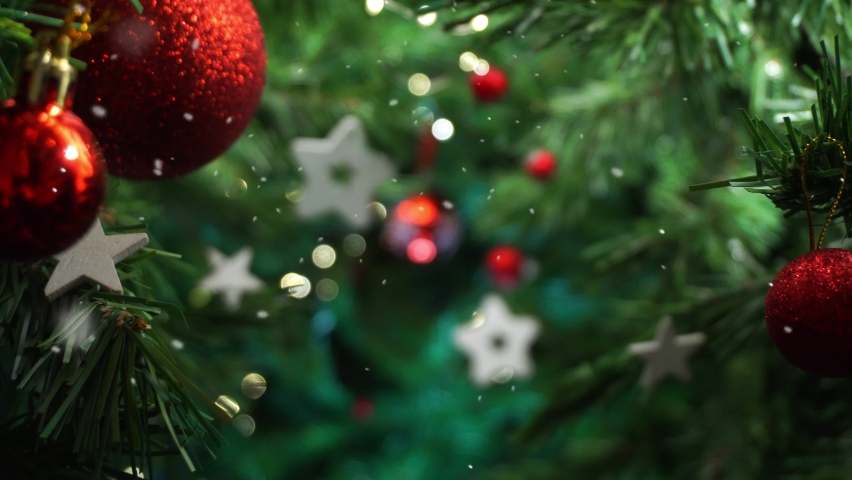 Christmas tree decoration with falling snow, smooth motion camera with parallax effect | Shutterstock HD Video #1059158258