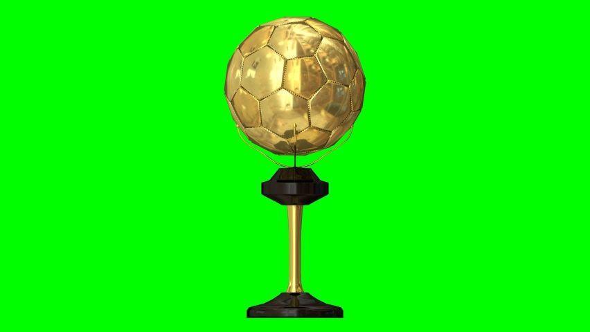 Animated spinning whole gold soccer trophy. Full 360 degree spin and loop able, glossy finish for surface and against green background. | Shutterstock HD Video #1059159185