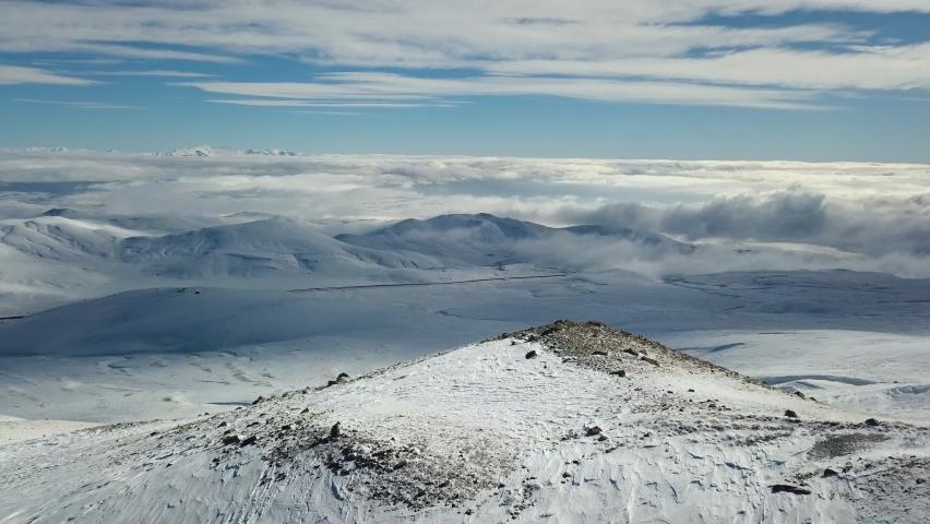 Ski resort in Turkey aerial view. The top of the extinct Erciyas volcano in Turkey.