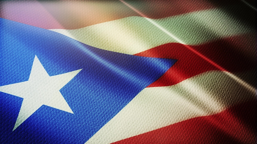 Puerto rico flag is waving 3D animation. puerto rico flag waving in the wind. National flag of puerto rico. flag seamless loop animation. 4K