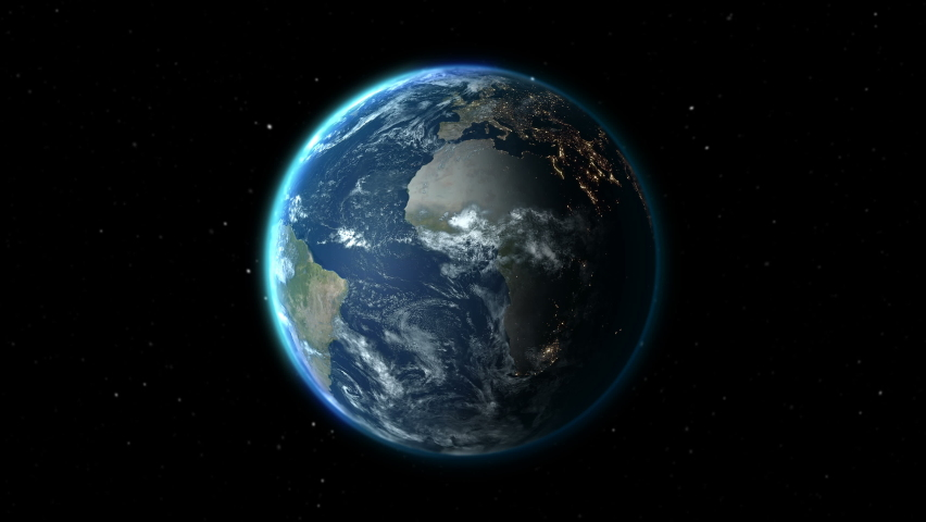 Realistic Earth Rotating on space (Loop). Texture map courtesy of NASA | Shutterstock HD Video #1059166412