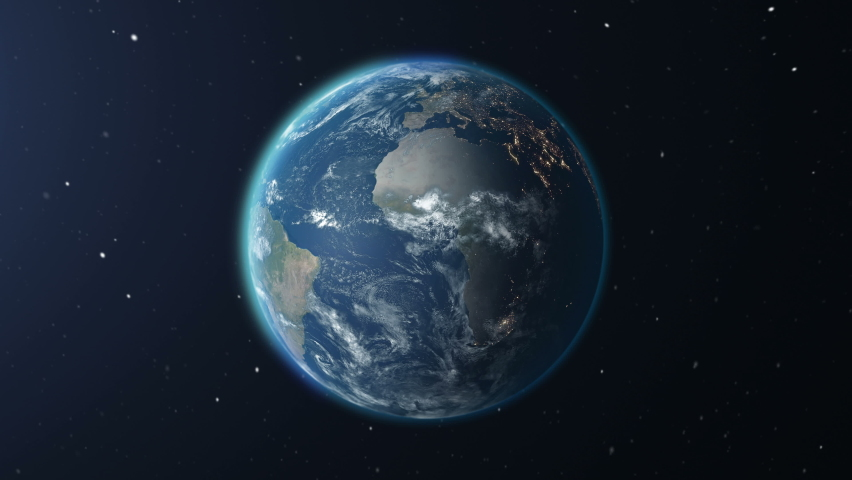 Realistic Earth Rotating on space (Loop). Texture map courtesy of NASA | Shutterstock HD Video #1059166415
