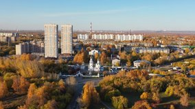Aerial video  of town Novosibirsk and Church of the Archangel Michael.  Novosibirsk, Siberia, Russia