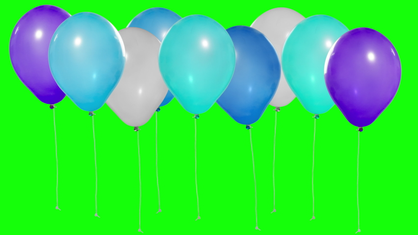 Set of colorful balloons. Flying balloons. Multicolored balloons. Balloons rising in the air. Helium balloon with rope. Chroma key. Green screen. Keying. Ultra HD - 4K (2160p), ProRes 422, 30 fps. | Shutterstock HD Video #1059176534