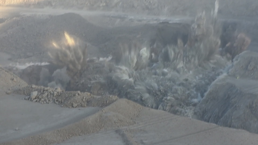 Chuquicamata, the world's largest copper mine quarry, Calama, Chile. View of a powerful explosion at a quarry.   Shutterstock HD Video #1059176864
