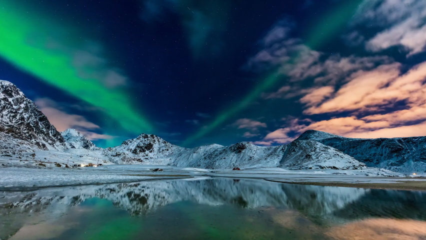 The polar Northern lights in Norway Svalbard in the mountains (time-lapse)