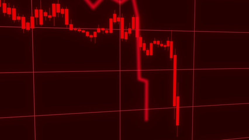 Candles of the stock market, price falls. Falling prices of securities. Loss of assets in equities stock. Decreasing trend showing unsuccessful performance and losses failure due to economic crisis Royalty-Free Stock Footage #1059184946