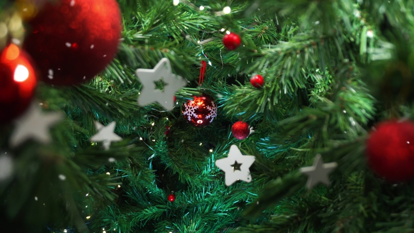 Christmas tree decoration with falling snow, smooth motion camera with parallax effect Royalty-Free Stock Footage #1059186869