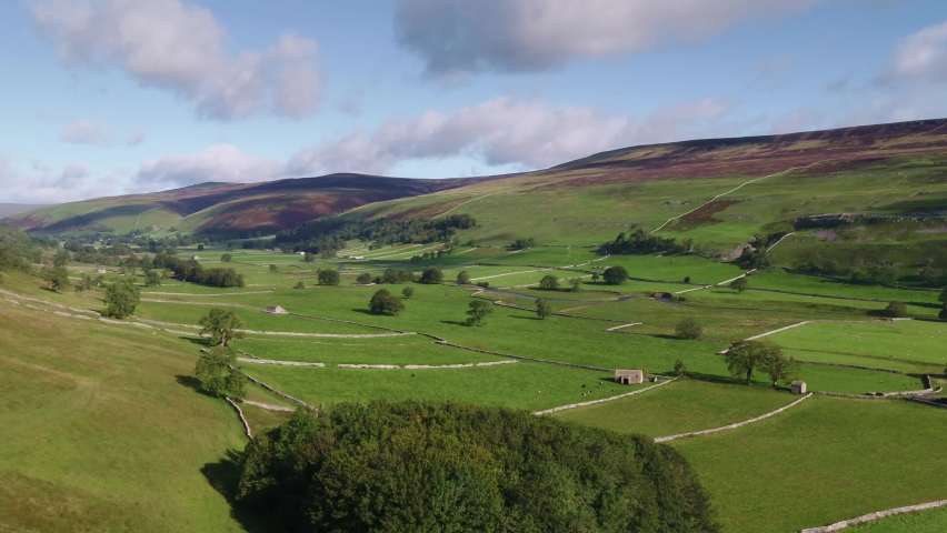 Drone footage flying over the Yorkshire Dales Village of Arncliffe, in Littondale, North Yorkshire