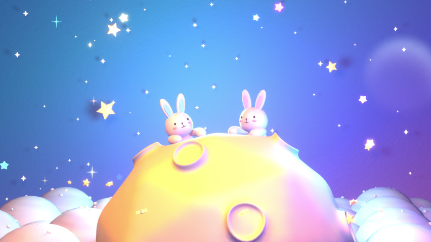 Cartoon little bunny on the moon animation. (Looped) | Shutterstock HD Video #1059190595