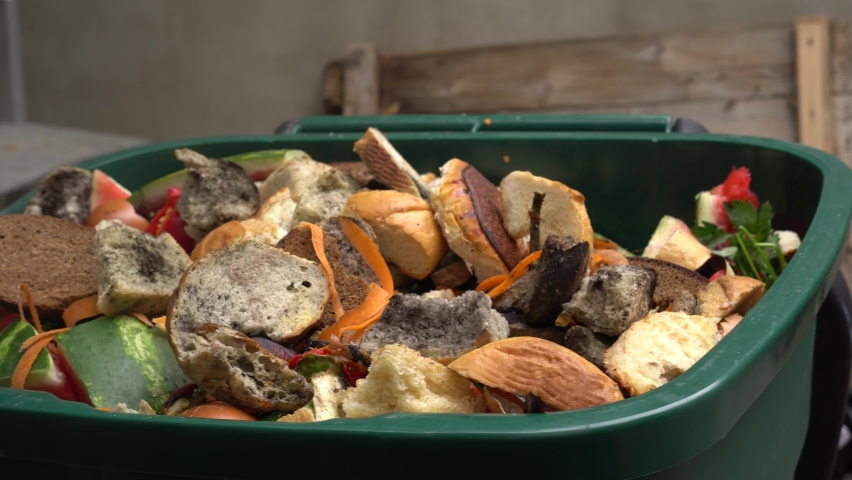 Organic biodegradable food waste bin for composting. Vegetable, fruit and garden waste. Compost, Recycle, ang Garbage Sorting. Food loss and wasting problems   Shutterstock HD Video #1059195122
