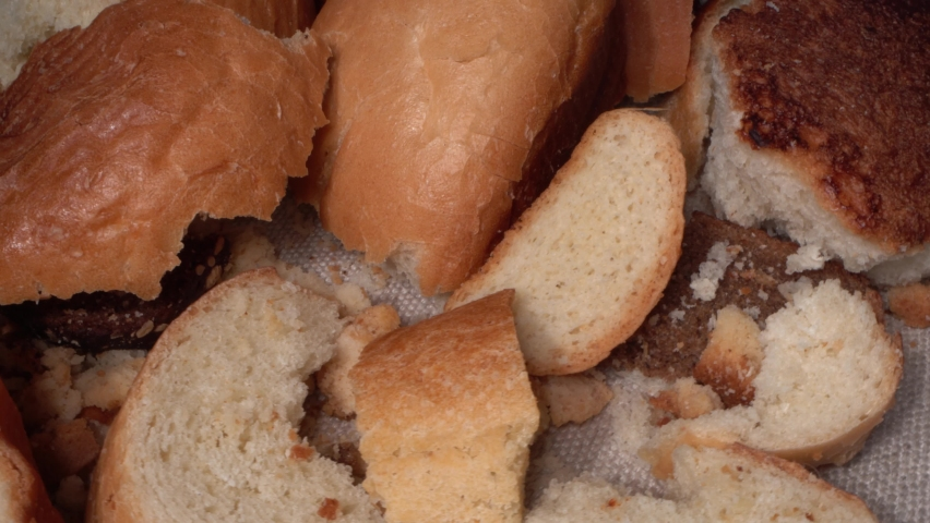 Discarded moldy bread close up. Wasted bread, food wasting. Growth of toxic black mold. Food Loss and Waste   Shutterstock HD Video #1059195128