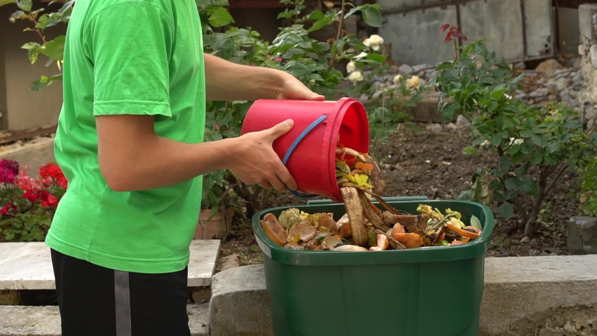 Green bin for organic waste. Yard Waste and Food Scraps. Kitchen food scraps including fruit, vegetables and egg shells. Separate waste collection   Shutterstock HD Video #1059195134
