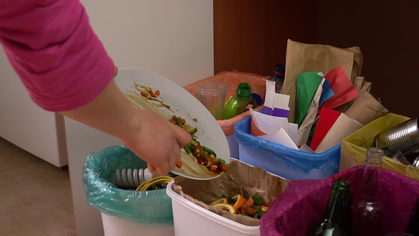 Disposing of discarded food. Household bins for waste sorting in the kitchen. Multicoloured Bins. Recycle. Plastic, paper packaging, coloured or clear glass, tin cans, bio waste, electronic equipment   Shutterstock HD Video #1059195140