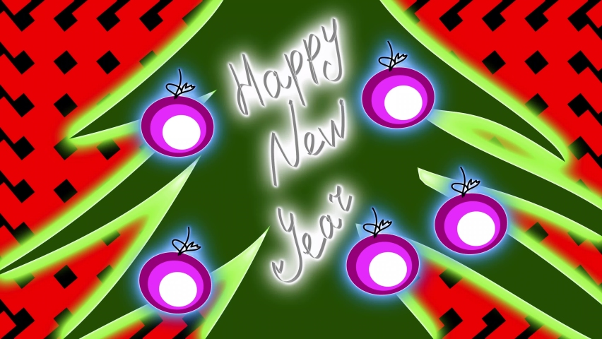 New year festive animation, elegant tree with toys with neon lights, happy new year | Shutterstock HD Video #1059195284