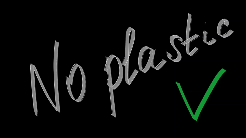 Animation the inscription no plastic on a black background, protect the planet. | Shutterstock HD Video #1059196367