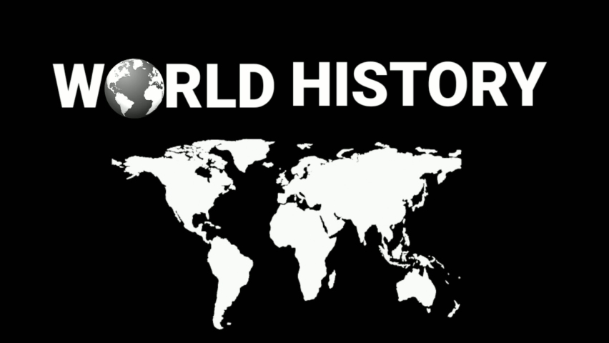 Black white color world map and symbolic texts of world history. | Shutterstock HD Video #1059196457