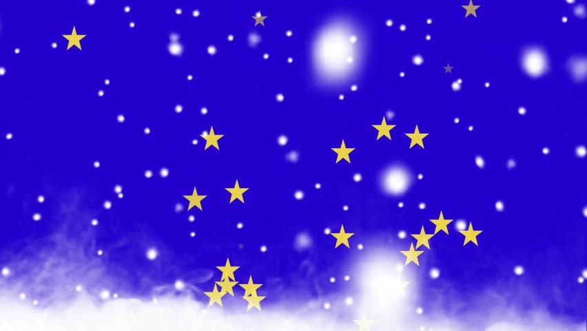 A rain of stars in a winter full of smoke | Shutterstock HD Video #1059196970