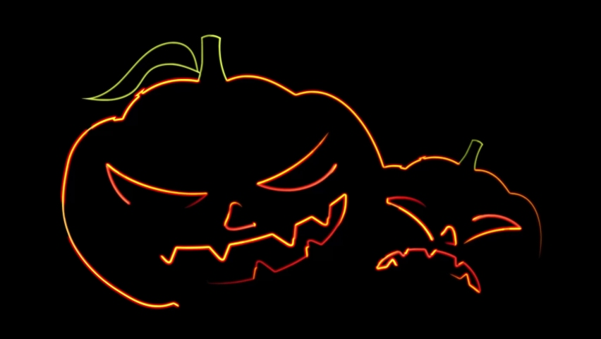 Abstract seamless 4K animation of  neon lines Halloween animation on black background.Animation For The Holiday Halloween Scary pumpkin face at night with moving on dark space. Holiday halloween | Shutterstock HD Video #1059197069