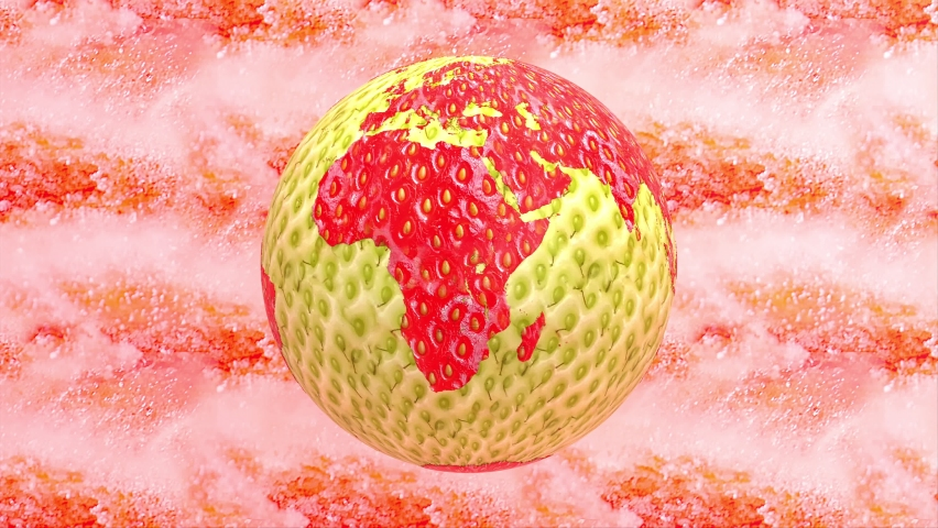Fresh ripe juicy red strawberry fruit 3d render animated abstract background, rotating earth planet and world globe concept graphic design seamless looping 4k animation, vegetarian summer snack. | Shutterstock HD Video #1059198725