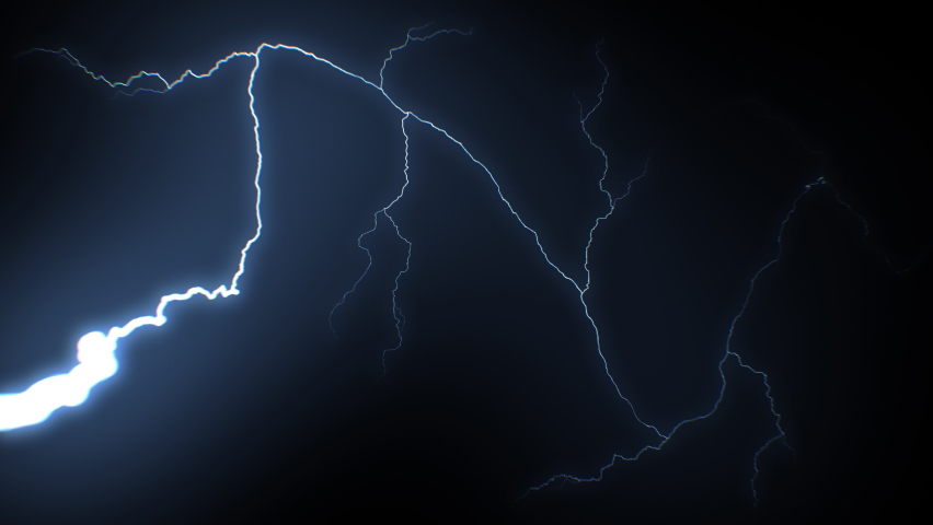 Beautiful Super Slow Motion Lightning Strikes from Skies to Camera. Realistic Thunderbolts Isolated on Black Background with Bright Blue Flashes. Electrical Storm Looped 3d Animation 4k UHD 3840x2160.