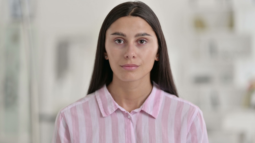 Portrait of Young Latin Woman saying No by Head Shake    Shutterstock HD Video #1059200867
