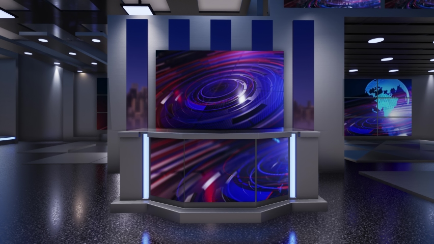 3D Virtual TV Studio News | Shutterstock HD Video #1059201992