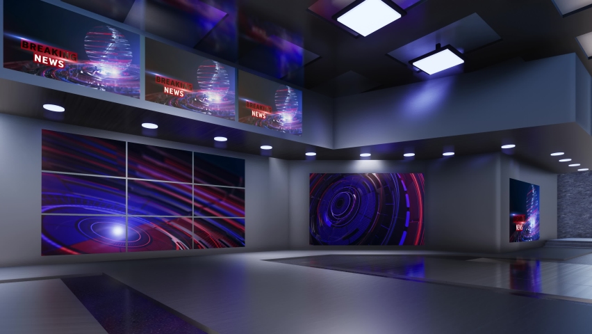 3D Virtual TV Studio News | Shutterstock HD Video #1059201995